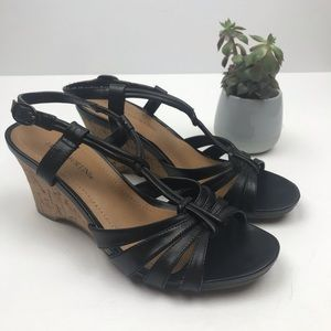FRANCO FORTINI Black Leather Wedge Sandals